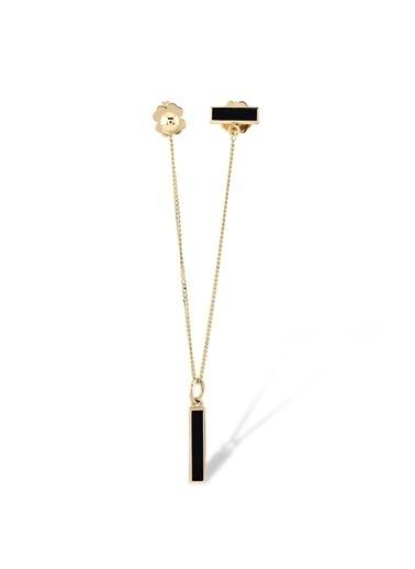 Piano Jewellery Rhythm Ikili Kombin Siyah Mineli Tek Altın Küpe 14 Ayar Altın